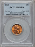 Lincoln Cents: , 1948 1C MS66 Red PCGS. PCGS Population (377/7). NGC Census:(1024/108). Mintage: 317,569,984. Numismedia Wsl. Price for pro...