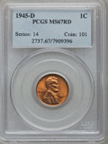Lincoln Cents: , 1945-D 1C MS67 Red PCGS. PCGS Population (226/0). NGC Census:(1370/0). Mintage: 266,268,000. Numismedia Wsl. Price for pro...