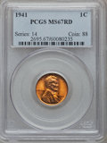 Lincoln Cents: , 1941 1C MS67 Red PCGS. PCGS Population (179/1). NGC Census:(1501/0). Mintage: 887,039,104. Numismedia Wsl. Price for probl...