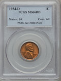 Lincoln Cents: , 1934-D 1C MS66 Red PCGS. PCGS Population (380/23). NGC Census:(454/46). Mintage: 28,446,000. Numismedia Wsl. Price for pro...