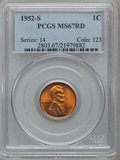 Lincoln Cents: , 1952-S 1C MS67 Red PCGS. PCGS Population (87/0). NGC Census:(652/0). Mintage: 137,800,000. Numismedia Wsl. Price for probl...