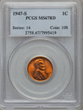 Lincoln Cents: , 1947-S 1C MS67 Red PCGS. PCGS Population (134/0). NGC Census:(908/0). Mintage: 99,000,000. Numismedia Wsl. Price for probl...