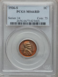 Lincoln Cents: , 1936-S 1C MS66 Red PCGS. PCGS Population (360/33). NGC Census:(1292/226). Mintage: 29,130,000. Numismedia Wsl. Price for p...