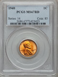 Lincoln Cents: , 1940 1C MS67 Red PCGS. PCGS Population (194/4). NGC Census:(1114/0). Mintage: 586,825,856. Numismedia Wsl. Price for probl...