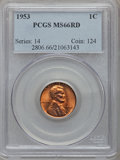 Lincoln Cents: , 1953 1C MS66 Red PCGS. PCGS Population (319/3). NGC Census:(1098/40). Mintage: 256,883,808. Numismedia Wsl. Price for prob...