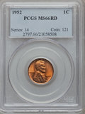 Lincoln Cents: , 1952 1C MS66 Red PCGS. PCGS Population (442/9). NGC Census:(1082/142). Mintage: 186,856,976. Numismedia Wsl. Price for pro...