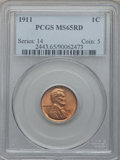 Lincoln Cents: , 1911 1C MS65 Red PCGS. PCGS Population (192/106). NGC Census:(100/74). Mintage: 101,177,784. Numismedia Wsl. Price for pro...