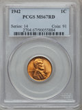 Lincoln Cents: , 1942 1C MS67 Red PCGS. PCGS Population (126/0). NGC Census:(794/0). Mintage: 657,828,608. Numismedia Wsl. Price for proble...