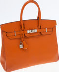 Luxury Accessories:Bags, Hermes 35cm Orange Epsom Leather Birkin Bag with PalladiumHardware. ...