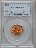Lincoln Cents: , 1950 1C MS66 Red PCGS. PCGS Population (470/18). NGC Census:(1054/138). Mintage: 272,686,400. Numismedia Wsl. Price for pr...