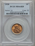 Lincoln Cents: , 1920 1C MS66 Red PCGS. PCGS Population (120/5). NGC Census:(114/6). Mintage: 310,164,992. Numismedia Wsl. Price for proble...