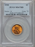 Lincoln Cents: , 1938 1C MS67 Red PCGS. PCGS Population (264/0). NGC Census:(1080/0). Mintage: 156,696,736. Numismedia Wsl. Price for probl...