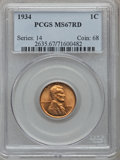 Lincoln Cents: , 1934 1C MS67 Red PCGS. PCGS Population (271/8). NGC Census:(792/6). Mintage: 219,080,000. Numismedia Wsl. Price for proble...
