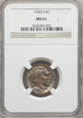 Buffalo Nickels: , 1920-S 5C MS61 NGC. NGC Census: (25/373). PCGS Population (5/420).Mintage: 9,689,000. Numismedia Wsl. Price for problem fr...