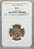 Buffalo Nickels: , 1913-S 5C Type Two MS61 NGC. NGC Census: (55/666). PCGS Population(15/959). Mintage: 1,209,000. Numismedia Wsl. Price for ...