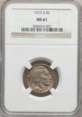 Buffalo Nickels: , 1915-S 5C MS61 NGC. NGC Census: (14/387). PCGS Population (5/570).Mintage: 1,505,000. Numismedia Wsl. Price for problem fr...