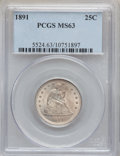 Seated Quarters: , 1891 25C MS63 PCGS. PCGS Population (136/230). NGC Census:(111/263). Mintage: 3,920,600. Numismedia Wsl. Price for problem...