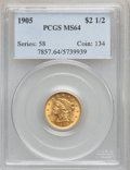 Liberty Quarter Eagles: , 1905 $2 1/2 MS64 PCGS. PCGS Population (1247/919). NGC Census:(1375/1110). Mintage: 217,800. Numismedia Wsl. Price for pro...
