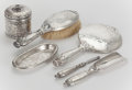 Silver Holloware, American:Vanity, A SIX PIECE TIFFANY & CO. SILVER ACID ETCHED PARTIAL DRESSERSET . Circa 1892. Marks to jar: TIFFANY & CO., 9545 MAKERS38... (Total: 6 Items)