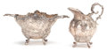 Silver Holloware, Continental:Holloware, A KARL KURZ HANAU SILVER CREAMER AND SUGAR BOWL . Circa 1900.Marks: (tulip), (fleur-di-lis), (figure) . 3-3/4 inches high (...