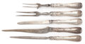 Silver Flatware, American:Tiffany, A FIVE PIECE TIFFANY & CO. SILVER AND STEEL WAVE EDGEPATTERN CARVING SET . Circa 1884. Marks: TIFFANY & CO.,...(Total: 5 Items)