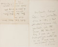 """Autographs:Authors, John Arbuthnot Fisher. Autograph Letter Signed, """"J. A. Fisher"""", no date, one page, Admiralty House, Portsmouth stationery, t..."""