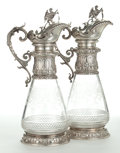 Silver Holloware, Continental:Holloware, A PAIR OF AUSTRIAN GLASS AND SILVER WINE EWERS . Circa 1870. Marks:WC, (Diana's head with 3 and A). 14-1/8 inches high...(Total: 2 Items)