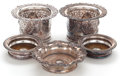 Silver Holloware, British:Holloware, A GROUP OF FIVE ENGLISH SILVER PLATED AND WOOD WINE COASTERS .Ellis-Barker Silver Co., Birmingham, England, early 20th cent...(Total: 5 Items)