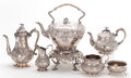 Silver Holloware, British:Holloware, A SIX PIECE ASSEMBLED VICTORIAN SILVER TEA AND COFFEE SERVICE .Walter Morrisse, London, England, circa 1849-1850. Marks to ...(Total: 7 Items)
