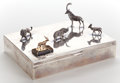 Silver Holloware, American:Boxes, A SMITH & SMITH SILVER, 9 KARAT GOLD AND TIGER'S EYE FIGURALCIGAR BOX . Circa 1950. Marks: SMITH & SMITH, STERLING,16...