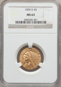 Indian Half Eagles: , 1909-D $5 MS63 NGC. NGC Census: (7899/2551). PCGS Population(9508/2671). Mintage: 3,423,560. Numismedia Wsl. Price for pro...