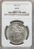 Morgan Dollars: , 1894-S $1 AU53 NGC. NGC Census: (84/2139). PCGS Population(120/3480). Mintage: 1,260,000. Numismedia Wsl. Price for proble...