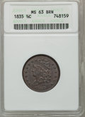 Half Cents: , 1835 1/2 C MS63 Brown ANACS. NGC Census: (228/330). PCGS Population(123/131). Mintage: 398,000. Numismedia Wsl. Price for ...