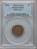 Indian Cents, 1870 1C Pick-Axe Variety VF30 PCGS....