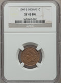Indian Cents: , 1909-S 1C XF45 NGC. NGC Census: (390/978). PCGS Population(226/569). Mintage: 309,000. Numismedia Wsl. Price for problem f...