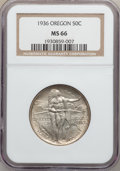 Commemorative Silver: , 1936 50C Oregon MS66 NGC. NGC Census: (513/141). PCGS Population(542/159). Mintage: 10,006. Numismedia Wsl. Price for prob...