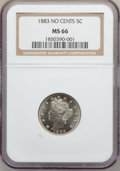 Liberty Nickels: , 1883 5C No Cents MS66 NGC. NGC Census: (464/59). PCGS Population(355/16). Mintage: 5,479,519. Numismedia Wsl. Price for pr...