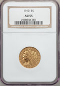 Indian Half Eagles: , 1910 $5 AU55 NGC. NGC Census: (190/6126). PCGS Population(378/3542). Mintage: 604,250. Numismedia Wsl. Price for problemf...