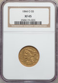 Liberty Half Eagles: , 1844-O $5 XF45 NGC. NGC Census: (98/411). PCGS Population (65/154).Mintage: 364,600. Numismedia Wsl. Price for problem fre...