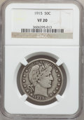 Barber Half Dollars: , 1915 50C VF20 NGC. NGC Census: (3/89). PCGS Population (25/179).Mintage: 138,000. Numismedia Wsl. Price for problem free N...