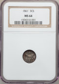 Three Cent Silver: , 1861 3CS MS64 NGC. NGC Census: (184/224). PCGS Population(171/190). Mintage: 497,000. Numismedia Wsl. Price for problemfr...