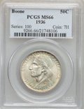 Commemorative Silver: , 1936 50C Boone MS66 PCGS. PCGS Population (314/67). NGC Census:(247/55). Mintage: 12,012. Numismedia Wsl. Price for proble...