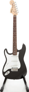 Musical Instruments:Electric Guitars, 2003 Fender Squire Standard Stratocaster Left-Handed Black SolidBody Electric Guitar, Serial # IC031118775....
