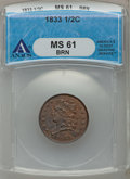 Half Cents: , 1833 1/2 C MS61 Brown ANACS. NGC Census: (35/249). PCGS Population(7/191). Mintage: 120,000. Numismedia Wsl. Price for pro...