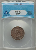 Half Cents: , 1851 1/2 C MS62 Brown ANACS. NGC Census: (114/187). PCGS Population(68/113). Mintage: 147,672. Numismedia Wsl. Price for p...