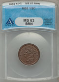 Half Cents: , 1855 1/2 C MS63 Brown ANACS. NGC Census: (115/261). PCGS Population(130/148). Mintage: 56,500. Numismedia Wsl. Price for p...