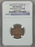Flying Eagle Cents: , 1858 1C Small Letters -- Improperly Cleaned -- NGC Details. Unc.NGC Census: (0/3). PCGS Population (2/588). Numismedia Ws...