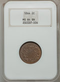 Two Cent Pieces: , 1864 2C Large Motto MS64 Brown NGC. NGC Census: (441/270). PCGSPopulation (272/52). Mintage: 19,847,500. Numismedia Wsl. P...