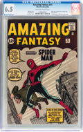 Silver Age (1956-1969):Superhero, Amazing Fantasy #15 (Marvel, 1962) CGC FN+ 6.5 Off-white to whitepages....