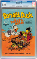 Golden Age (1938-1955):Cartoon Character, Four Color #9 Donald Duck (Dell, 1942) CGC VF 8.0 Off-white to white pages....